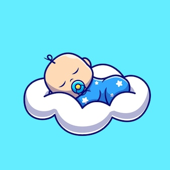 Cute baby sleeping on cloud pillow cartoon icon illustration.
