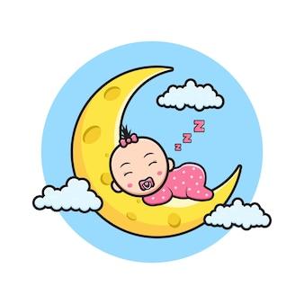 Cute baby sleeping on the moon cartoon icon illustration. design isolated flat cartoon style