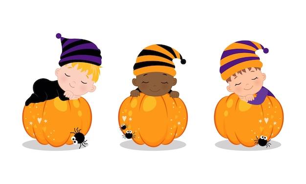 Cute baby sleeping on the pumpkin halloween clip art flat vector cartoon design