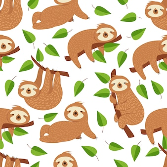 Cute baby sloth bear. tropical bedroom vector seamless pattern