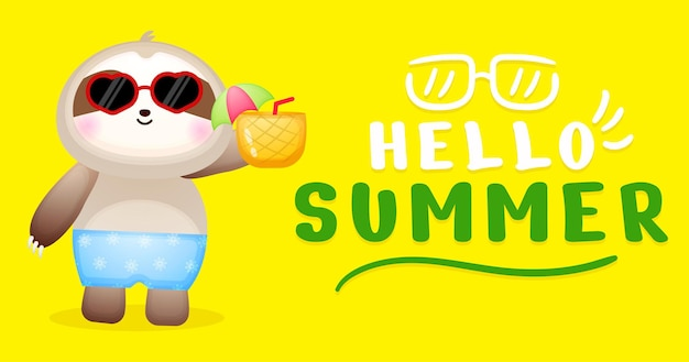 Cute baby sloth holding pineapple with summer greeting banner