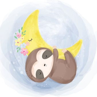 Cute baby sloth illustration