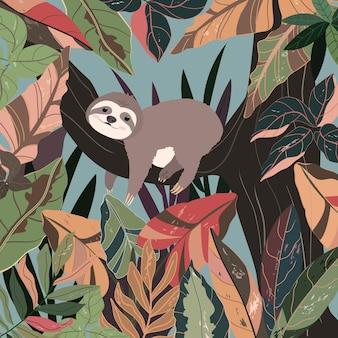カラフルな森のかわいい赤ちゃんナマケモノ。