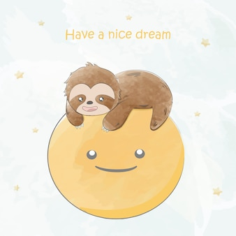 Cute baby sloth on the moon water color cartoon hand drawn
