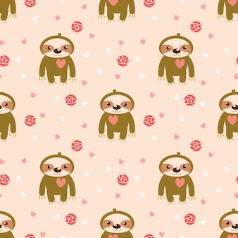 Cute baby sloth and pink heart seamless pattern.