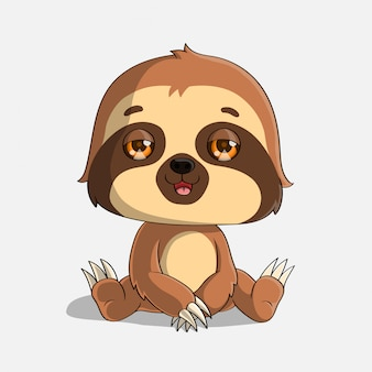 Cute baby sloth sitting, hand drawn