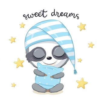 Cute baby sloth sleeping illustration.
