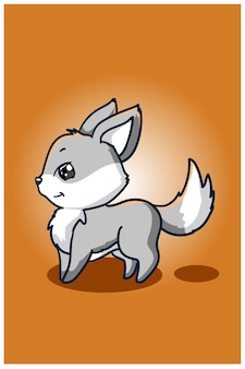 Cute baby small wolf illustration