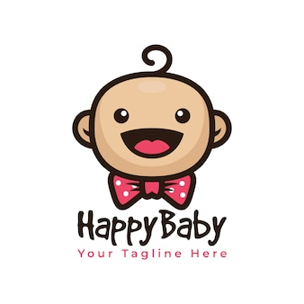 Cute baby smile logo with bowties logo vector
