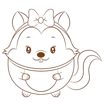 Cute baby squirrel drawing sketch for coloring