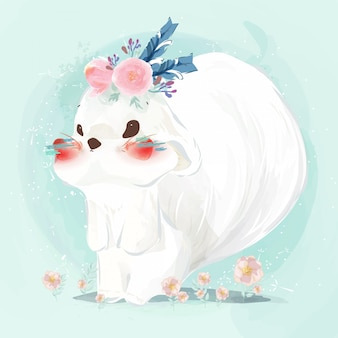 Cute baby squirrel hand drawn in sweet watercolor style.