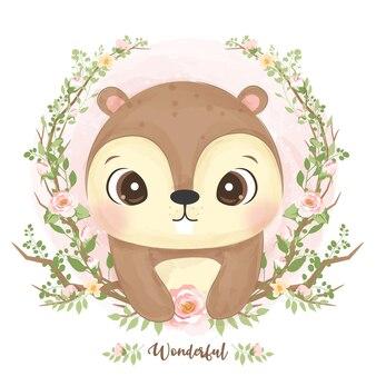 수채화에 귀여운 아기 다람쥐