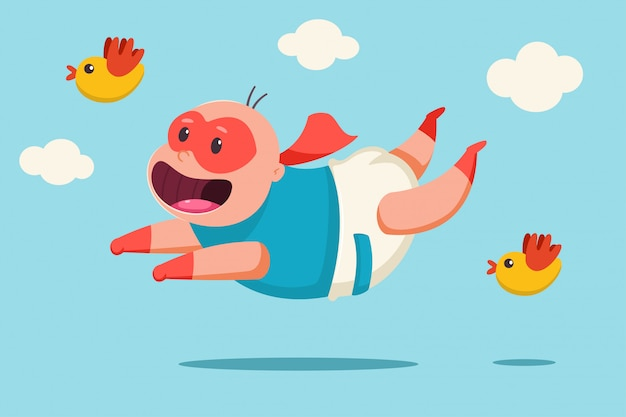 Cute baby in a superhero costume. vector cartoon character of a child in a mask, a cape and a diaper flies against the sky with clouds and birds.