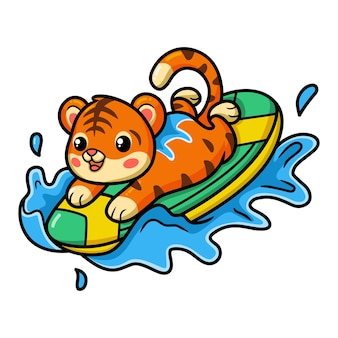 Милый ребенок серфер тигр мультфильм