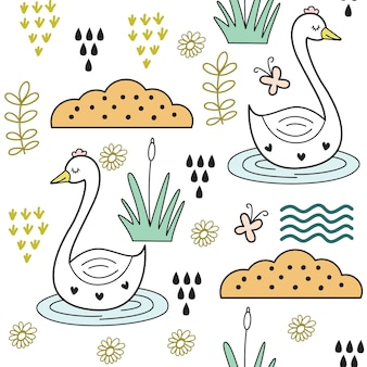 Cute baby swan seamless pattern