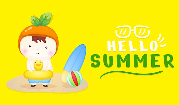 Cute baby on swimming buoy with summer greeting banner