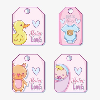 Cute baby tags vector illustration graphic design