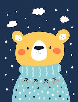 Cute baby teddy bear in knitted sweater