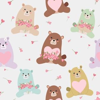 Cute baby teddy bear seamless pattern.