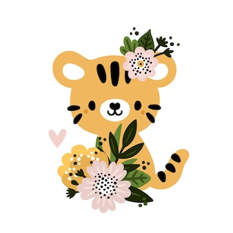 Cute baby tiger animal with blooming flowers for newborn boy or girl
