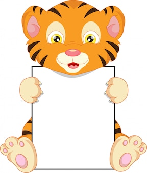 Cute baby tiger cartoon and blank sign