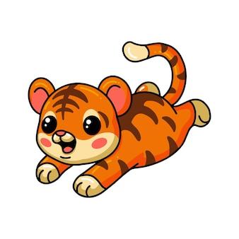 Cute baby tiger cartoon jumping
