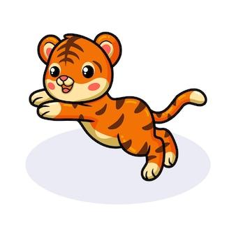 Милый ребенок тигр мультфильм прыжки
