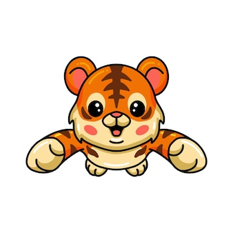 Cute baby tiger cartoon leaping