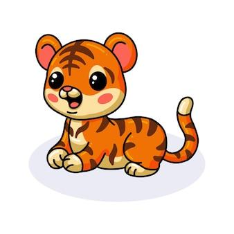 Cute baby tiger cartoon lying down