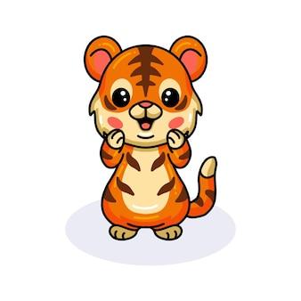 Cute baby tiger cartoon posing