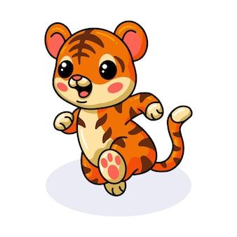 Cute baby tiger cartoon running