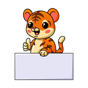 Cute baby tiger cartoon with blank sign and giving thumb up