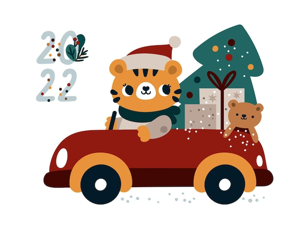 Cute baby tiger driving car with gifts and christmas tree happy new year 2022 card