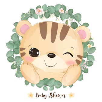 Cute baby tiger and greenery in watercolor illustration