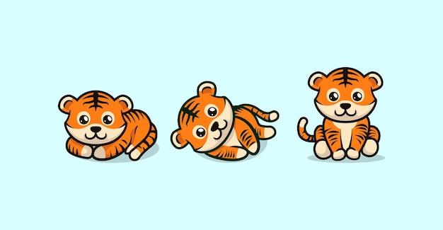 다양 한 포즈 벡터 템플릿으로 귀여운 아기 호랑이 마스코트 디자인
