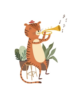 Милый тигренок играет на тромбоне на музыкальном инструменте
