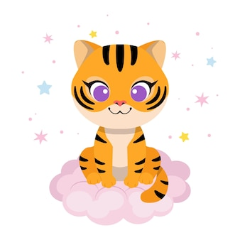 Милый тигренок сидит на облаке