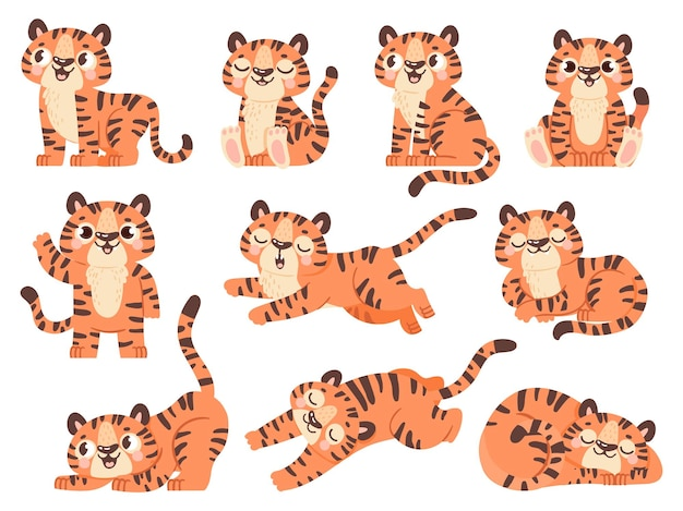 Cute baby tigers. cartoon jungle animal for kids design. tiger poses in sleep, sit, play and roar. 2022 new year symbol character vector set. illustration tiger animal, cat jungle, wild mammal mascot