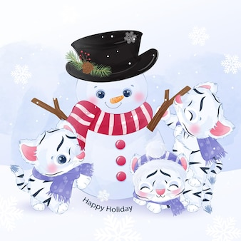Cute baby tigers and snowman playing together