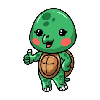 Cute baby turtle cartoon giving thumbs up