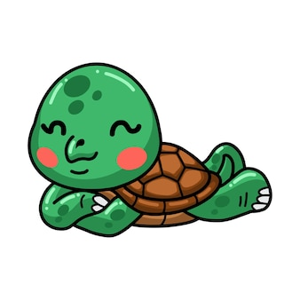 Cute baby turtle cartoon laying down