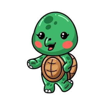 Cute baby turtle cartoon presenting