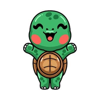 Cute baby turtle cartoon raising hands