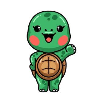 Cute baby turtle cartoon waving hand