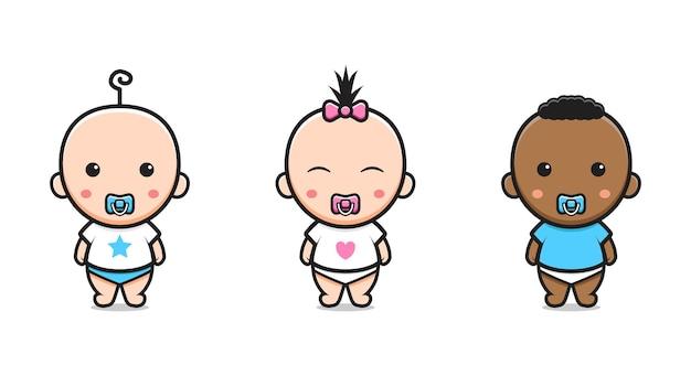 Cute baby twin character cartoon icon illustration. design isolated flat cartoon style