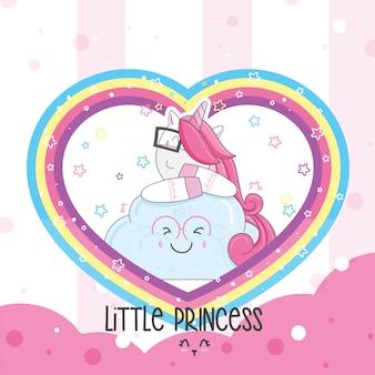 Cute baby unicorn cartoon hand drawn
