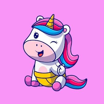 Illustrazione sveglia dell'icona di vettore del fumetto dell'unicorno del bambino. concetto di icona natura animale isolato vettore premium. stile cartone animato piatto