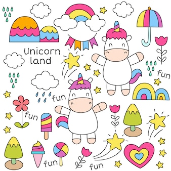 Cute baby unicorn doodle seamless pattern