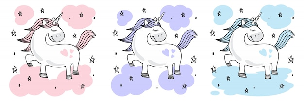 Cute baby unicorn doodle sketch