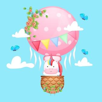 귀여운 아기 유니콘 공기 풍선 만화 비행
